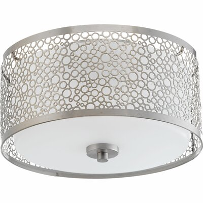 Komal 1-Light Flush Mount Finish: Brushed Nickel, Size: 5.88 H x 11 W x 11 D
