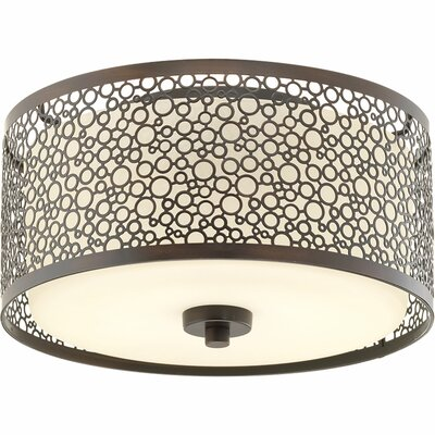 Komal 1-Light Flush Mount Finish: Antique Bronze, Size: 5.88 H x 11 W x 11 D