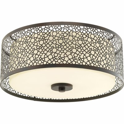 Komal 1-Light Flush Mount Finish: Antique Bronze, Size: 5.75 H x 14 W x 14 D