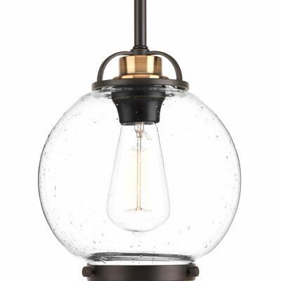 Suzan 1-Light Globe Pendant Finish: Clear Seeded/Antique Bronze, Size: 13 H x 12 W x 12 D