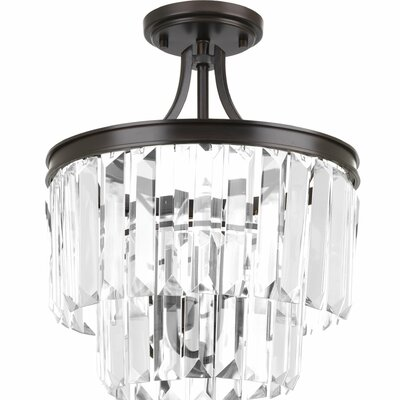 Eggar 3-Light Sparkle Crystal Chandelier Finish: Antique Bronze
