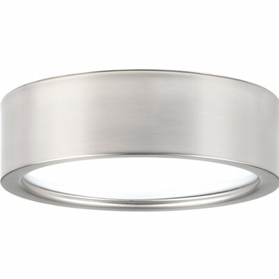 Nitesh 1-Light Flush Mount Finish: Brushed Nickel, Size: 2.5 H x 9 W x 9 D