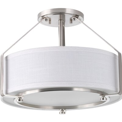 Ratio 3-Light Flush Mount Base Finish: Brushed Nickel
