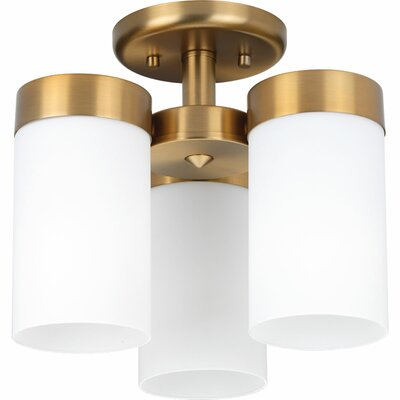 Elevate 3-Light Semi Flush Mount Finish: Brushed Bronze