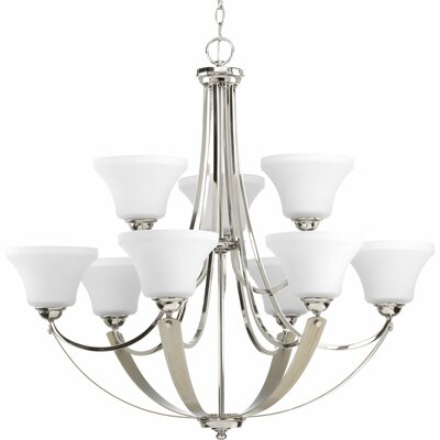 Noma 9-Light Shaded Chandelier Finish: Polished Nickel