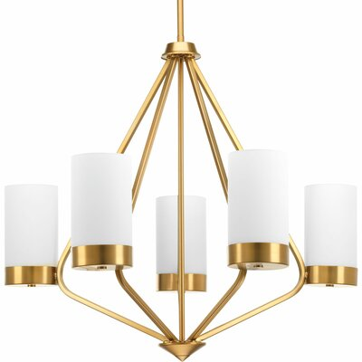 Kieron 5-Light Shaded Chandelier Finish: Brushed Bronze