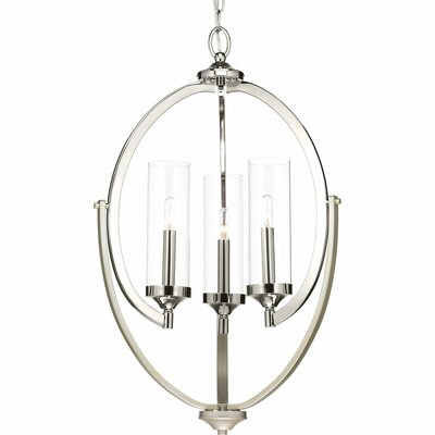Evoke 3-Light Candle-Style Chandelier Finish: Polished Nickel