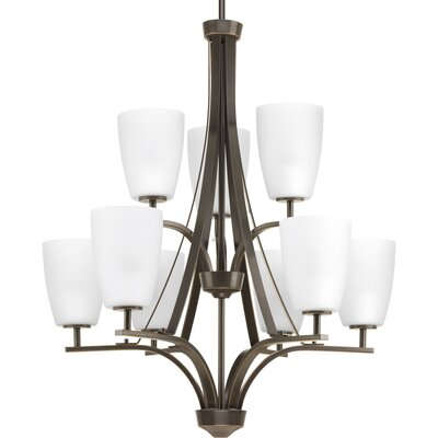 Leap 9-Light Shaded Chandelier Finish: Antique Bronze