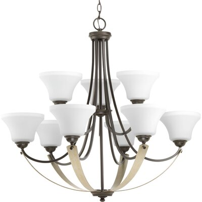 Noma 9-Light Shaded Chandelier Finish: Antique Bronze