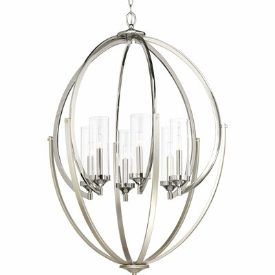 Evoke 6-Light Candle-Style Chandelier Finish: Polished Nickel