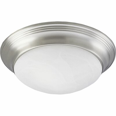 Kenlee Etched and Faceted Glass Silver Flush Mount Finish: Brushed Nickel, Size: 5 1/2H x 16 5/8W x 16 5/8D