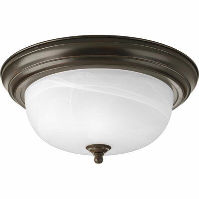 Rexroad 2-Light Glass Shade Flush Mount Finish: Antique Bronze