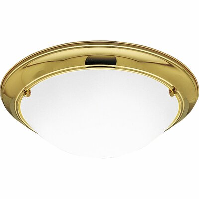 Tod Flush Mount in Polished Brass Finish: Polished Brass, Size: 5.5 H x 19.375 W
