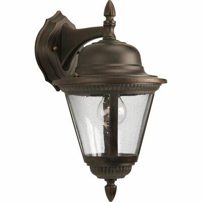 Triplehorn1-Light Aluminum Wall Lantern Size: 16