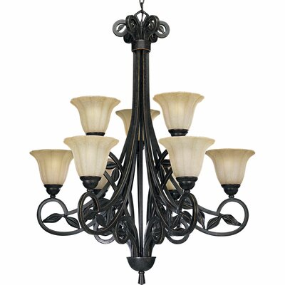 Le Jardin 9-Light Shaded Chandelier Finish: Espresso