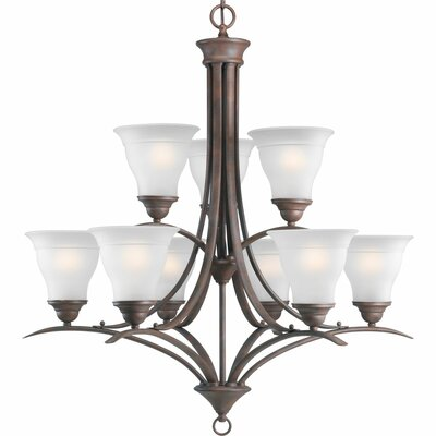 Trinity 9-Light Shaded Chandelier Finish: Antique Bronze