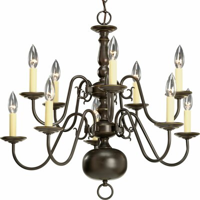 Americana 10-Light Candle-Style Chandelier Finish: Antique Bronze