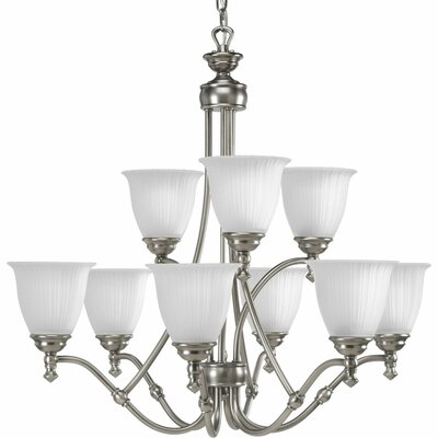 Denton 9-Light Shaded Chandelier Finish: Antique Nickel