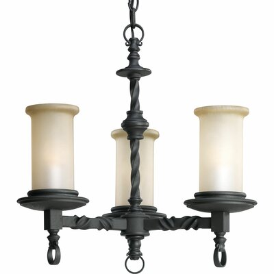 Jakes 3-Light Shaded Chandelier Finish: Forged Black