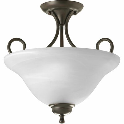 Alabaster 2-Light Semi Flush Mount Finish: Antique Bronze