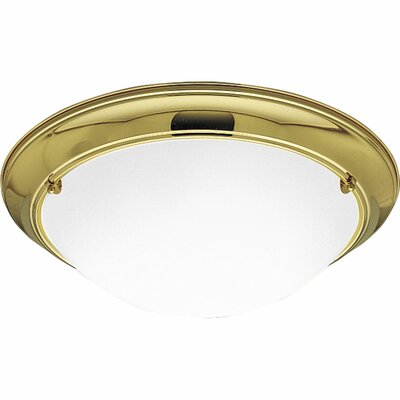 Tod Flush Mount Finish: Polished Brass, Electronic Ballast: Yes