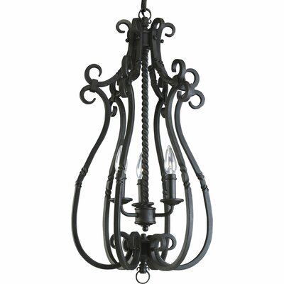 Jakes 3-Light Foyer Pendant Finish: Forged Black