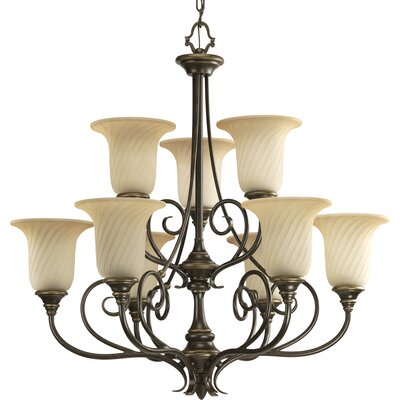 Terrie 9-Light Chain Shaded Chandelier
