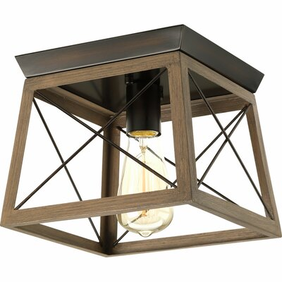 Delon 1-Light Metal Frame Flush Mount Finish: Antique Bronze