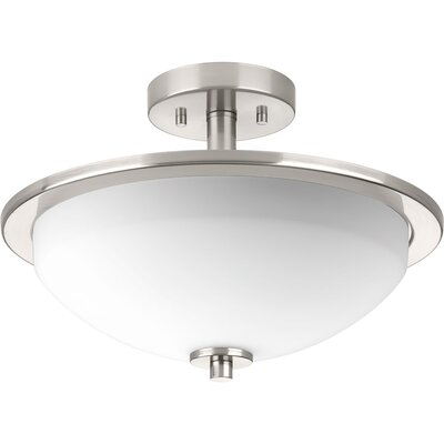 Knouse 2-Light Semi Flush Mount Fixture Finish: Polished Nickel