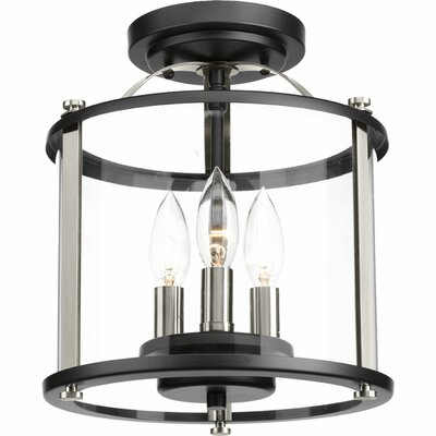 Evgenia 3-Light Semi Flush Mount Finish: Black
