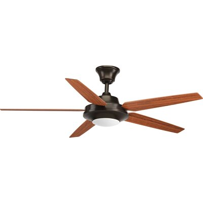 54 Searles 5 Blade LED Ceiling Fan with Remote Finish: Antique Bronze with Cherry Blades