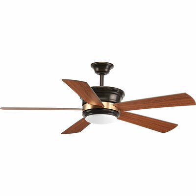 54 Seaton 5 Blade LED Ceiling Fan with Remote Finish: Antique Bronze with Cherry Blades