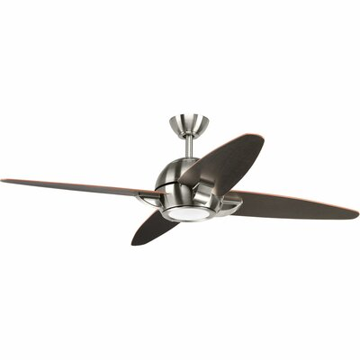 54 Dirks 5 Blade LED Ceiling Fan with Remote Finish: Brushed Nickel with Black Blades