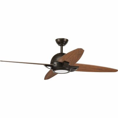 54 Dirks 5 Blade LED Ceiling Fan with Remote Finish: Antique Bronze with Walnut Blades