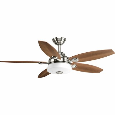 54 Keriann 5 Blade LED Ceiling Fan with Remote Finish: Brushed Nickel with Cherry Blades