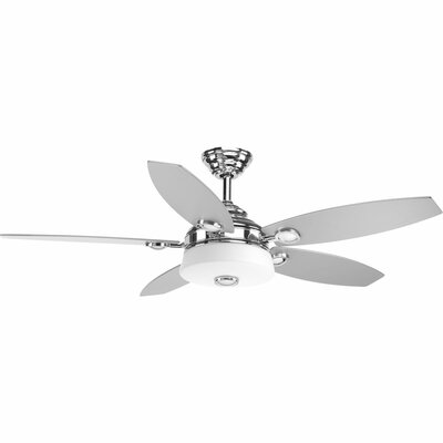 54 Keriann 5 Blade LED Ceiling Fan with Remote Finish: Polished Chrome with Silver Blades