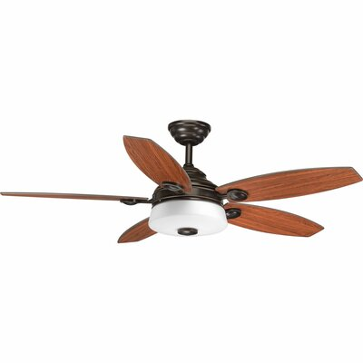 54 Keriann 5 Blade LED Ceiling Fan with Remote Finish: Antique Bronze with Dark Teak Blades