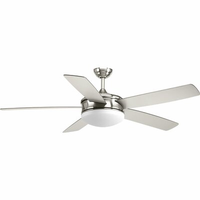 60 Eanike 5 Blade Ceiling Fan with Remote Finish: Brushed Nickel with Silver Blades