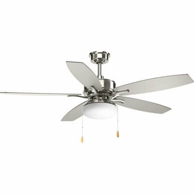 52 Segars 5 Blade LED Ceiling Fan with Pull Chain Finish: Brushed Nickel with Silver Blades