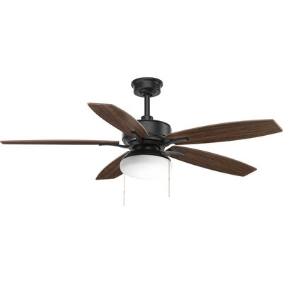 52 Segars 5 Blade LED Ceiling Fan with Pull Chain Finish: Black with Toasted Oak Blades