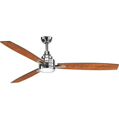 60 Aliff 3 Blade LED Ceiling Fan with Remote Finish: Polished Chrome