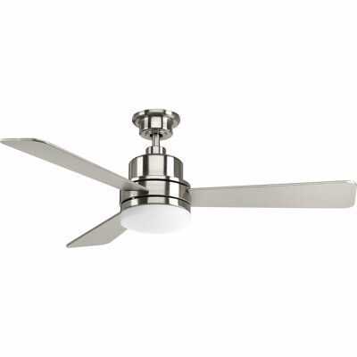 52 Rathburn 3 Blade LED Ceiling Fan Finish: Brushed Nickel with Silver Blades