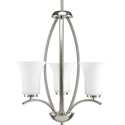 Jilliann Contemporary 3-Light Shaded Chandelier Finish: Brushed Nickel