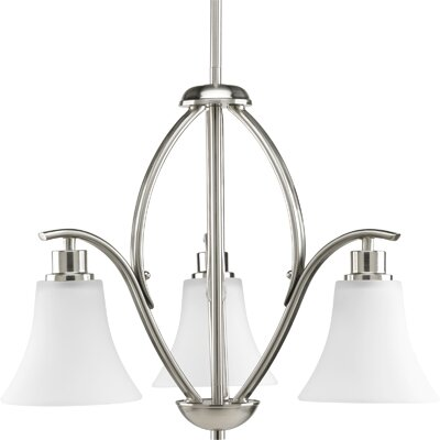Jilliann Etched 3-Light Shaded Chandelier Finish: Brushed Nickel