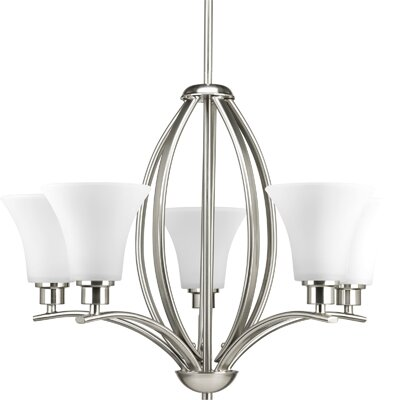 Joy 5-Light Shaded Chandelier Finish: Brushed Nickel