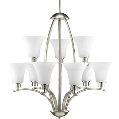 Jilliann 9-Light Shaded Chandelier Finish: Brushed Nickel