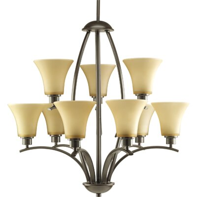 Jilliann 9-Light Shaded Chandelier Finish: Antique Bronze