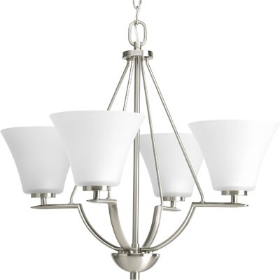 Bravo 4-Light Shaded Chandelier Finish: Brushed Nickel