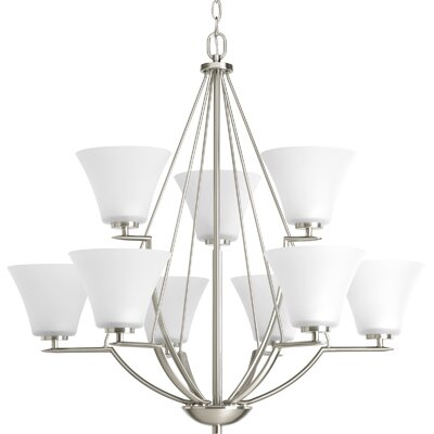 Bravo 9-Light Shaded Chandelier Finish: Brushed Nickel