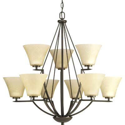 Bravo 9-Light Shaded Chandelier Finish: Antique Bronze